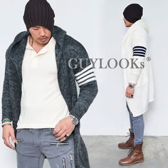 Stripe Contrast Arm Mens Long Wool Sweater Hooded Cardigan Knit Jacket Guylook #Guylook #HoodedLongCardigan