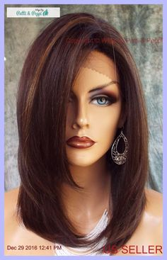 Lace Front Wig HAND TIED HEAT FRIENDLY FS4.27 SOFT STRAIGHT LAYERS USA 1133 #Sepia
