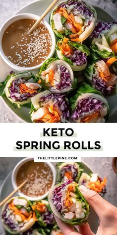 *NEW* Build your ideal keto spring rolls low carb and dip them in this umami packed peanut sauce - you'll be in a world of flavor! #ketospringrolls #lowcarbspringrolls #lowcarbdinner #ketodinner #lowcarbdinners #ketodinners #lowcarbmaincourse #ketomaincourse Lunch Recipes, Seafood Recipes, Diet Recipes, Healthy Recipes, Healthy Habits, Summer Recipes, Low Carb Appetizers, Appetizer Recipes, Holiday Appetizers