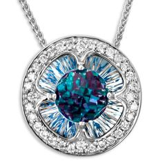 Galatea DavinChi Cut Blue Topaz Necklace. Visit Renaissance Fine Jewelry in Vermont or a www.vermontjewel.com for the ultimate bridal  jewelry!