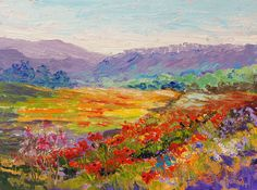 Impressionist oil painting French Countryside - Poppy Meadow Haut Alpes Provence…