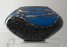 Crackle Glass Vase - Short, Vases, Home Furnishings, Home - The Museum Shop of The Art Institute of Chicago