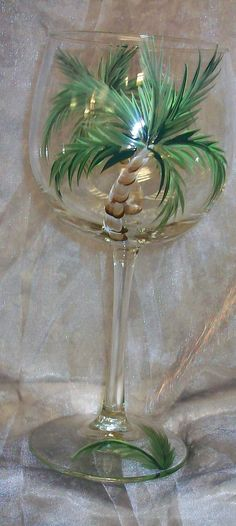 Hand painted Palm treeWine Glasses on Etsy, £22.70