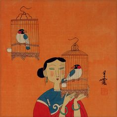 Elegant Chinese Bird Cages - Modern Art Painting - Asian Modern ...