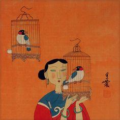 Elegant Chinese Bird Cages - Modern Art Painting - Asian Modern ...