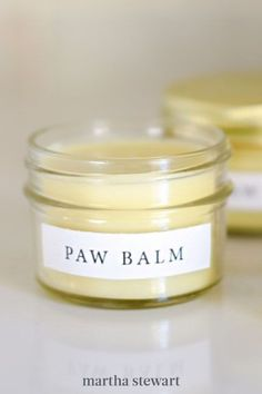 Perk up your pup's paws with a jar filled with soothing balm. The small jars make this DIY look like you picked the balm up at the apothecary, not made in your home. #marthastewart #crafts #diyideas #easycrafts #tutorials #hobby Fairy Lights In A Jar, Jar Lights, Crafty Projects, Easy Projects, Recycled Jars, Pet Paws, Upcycled Crafts, Jar Crafts, Apothecary
