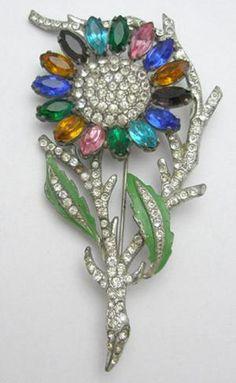 silver plated metal flower brooch