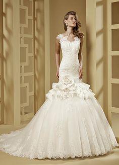 2015 Sheath/Column Off The Shoulder Embroidery Chapel Train Lace Wedding Dresses