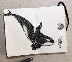 Les animaux celestes de kerby rosanes 10 baleine new painting ideas animals colour ideas painting Calavera Simple, Simple Skull Drawing, Whale Drawing, Whale Sketch, Pen Art, Drawing For Kids, Children Drawing, Drawing Ideas, Pencil Art
