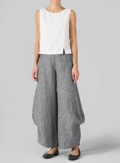 Nwot Xiao Organic Linen Wide Leg Pull-on Black W.white Stitch Pants Small Beautiful In Colour Pants