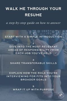 """Resume Tips : Save for your next interview: A step by step guide on how to answer """"walk me… - Resumes. Interview Answers, Interview Skills, Job Interview Questions, Job Interview Tips, Job Interviews, Job Resume, Resume Tips, Resume Examples, Cv Tips"""