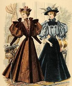 Again, love the 2 tone dress on the right. And her hat! Again, love the 2 tone dress on the right. And her hat! Again, love the 2 tone dress on the right. And her hat! 1890s Fashion, Edwardian Fashion, Vintage Fashion, French Fashion, Fashion Illustration Vintage, Illustration Mode, Illustrations, Vintage Outfits, Vintage Dresses