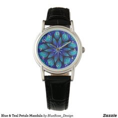 Blue & Teal Petals Mandala Watch Purple Teal, Blue, Pocket Watches, Cool Watches, Apple Watch, Keep It Cleaner, Colorful Backgrounds, Mandala, Quartz
