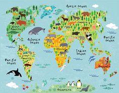 World Map Kids room art Nursery art Nursery print Kids room Wall Stickers World Map, World Map Wall Art, World Map Poster, Cow Canvas, Kids Canvas, Canvas Wall Art, Canvas Size, Canvas Prints, Art Prints
