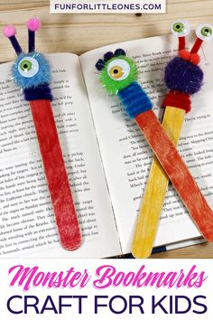 DIY Monster Bookmarks for Kids - Fun for Little Ones This fun & easy monster bookmarks craft is great to make any time of the year but is especially great to make for Halloween! Its also the perfect craft for a monster party or slumber party. Diy Crafts For Kids Easy, Craft Activities For Kids, Craft Stick Crafts, Toddler Crafts, Preschool Crafts, Tape Crafts, Recycled Crafts For Kids, Craft Ideas, Easy Diy