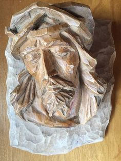 VTG Hand Carved Wood Jesus 3D Face Crown of Thorns Wooden Wall Mount By J. Frank