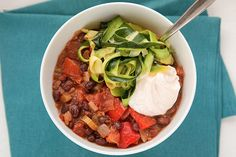 Black Bean Chili With Greek Yogurt and Zucchini Ribbons
