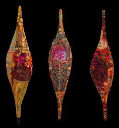 Gordana Brelih / Orange Flower Pod 1,2,3, 2011. Machine stitched felt, embellishment stitched on water soluble