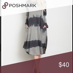 """Tie Dye dress Brushed fleece Gray tie dye dress. Length 43"""" with a rounded hem. Side pockets! 68% rayon, 28% polyester, 4% spandex. Small fits 0-4, medium 4-8, large 8-12 Dresses Midi"""