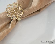 1 GOLD Crystal Peony Napkin Rings, Simply Elegant for Wedding and Special Events