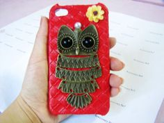 red skin hard case cover with retro antique brass owl for iphone 4G 4GS by braceletcool, $10.00