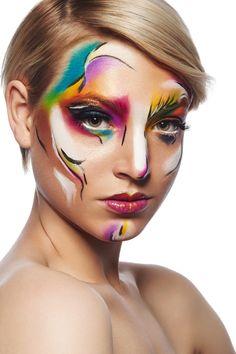 Zoe by Damien Mohn on - Make Up Tips Fx Makeup, Photo Makeup, Circus Makeup, Creative Makeup Looks, High Fashion Makeup, Crazy Makeup, Glitter Makeup, Fantasy Makeup, Art Plastique