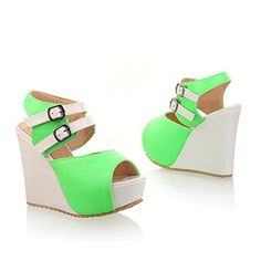 QueenFashion Womens Open Toe Peep Toe High Heels PU Soft Material Assorted Colors Sandals with Wedge, Green, 39 QueenFashion http://www.amazon.com/dp/B00KZGD3US/ref=cm_sw_r_pi_dp_cge9tb1A6BTY9