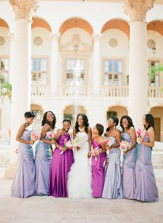 Shades of lavender...Photography by ktmerry.com Maid & Matron of Honor in one color and bridesmaids in another ! lIKE IT ! It's something new