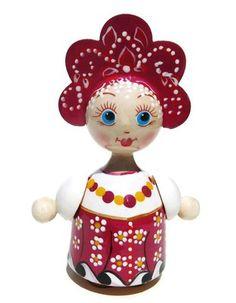 Katyusha Russian Wooden Doll in Burgundy