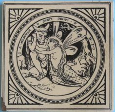 """One of the series of 24 scenes from plays by Shakespeare designed by John Moyr Smith for Mintons China Works, pattern No. 1408. Depicted here is: """"A Midsummer Night's Dream, Act IV, scene i"""". The tile is..."""