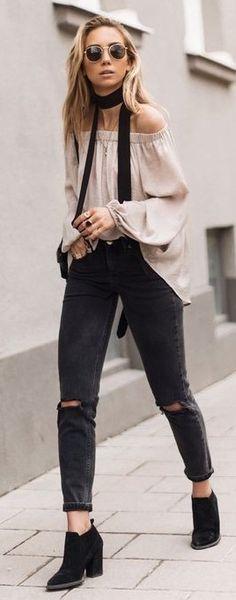 Black Choker, Blush Pink Off The Shoulder Blouse, Black Ripped Skinnies, Black Booties | Lisa Olsson