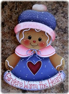 Gingers Warm the Heart Gingerbread Painting E-Pattern Gingerbread Ornaments, Gingerbread Decorations, Christmas Gingerbread, Christmas Decorations, Christmas Paintings, Christmas Art, Christmas Projects, Holiday Crafts, Christmas Ornaments