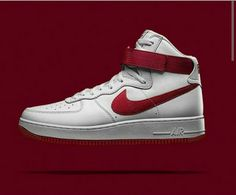 694669fc8180 Red and White Af1 high tops. Air Force Ones