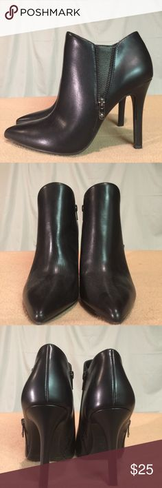 New Worthington Black Zipper Bootie Heels These shoes are Brand New/Never Worn and are in PERFECT CONDITION. The heel height of this shoe is 4.5 inches tall. Worthington Shoes Ankle Boots & Booties