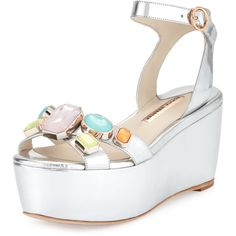 Sophia Webster Suki Metallic Gem Sandal ($580) ❤ liked on Polyvore featuring shoes, sandals, silver, metallic platform shoes, gem sandals, platform shoes, metallic shoes and open toe sandals