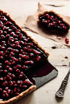 "Chocolate Pomegranate Tart - 15 Valentine's Day Desserts that Scream ""Romance"" 