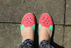 DIY Watermelon Shoes