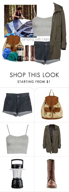"""""""Camping with Harry"""" by cheyenne-stock ❤ liked on Polyvore featuring Wet Seal, Boohoo, Vero Moda and Steve Madden"""