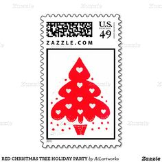 RED CHRISTMAS TREE HOLIDAY PARTY POSTAGE STAMP