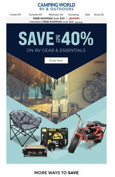 Camping Sale, Camping World Rv, Rv Camping, Ways To Save, Email Marketing, Shop Now, Outdoor, Shopping, Outdoors
