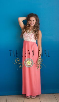 Coral Lace Dress!!  Buy Here: http://thejeangirlshop.com
