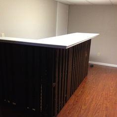 Basement pallet bar. Under 100 dollars!! (top, trim, stain and varnish) LOVE IT!!!