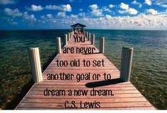 "Dream a New Dream!  ""You are never too old to set another goal or to dream a new dream."" ~ C.S. Lewis"