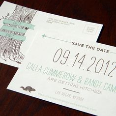 Woodsy Save The Date Postcard by http://paperandhome.com