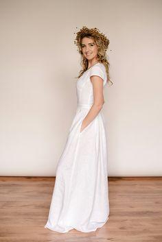 Linen modest wedding dress