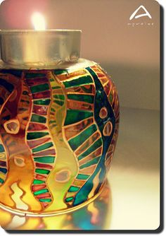 Colourful Worm  Hand-painted Glass Candle Holder