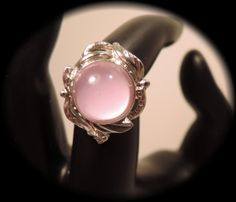 Silver Tone and Pink Glass Adjustable Ring c1980 by thejeweledbear, $10.00