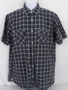 Bugatchi Plaid Black Short Sleeve Button Front Linen Shaped Fit Mens Large Shirt #BugatchiUomo #ButtonFront