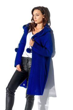 Cardigan de dama supradimensionat cu maneci lungi, glugă și accesorii decorative. Mode Shop, Duster Coat, Satin, Elegant, Sport, Dresses, Fashion, Pom Poms, Tricot