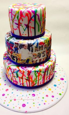 Lovely Cake Decorations for Themed Birthday Cake. 3 Tiered Mud Cake Covered In Picture 90th Birthday Cakes, Custom Birthday Cakes, Male Birthday, Birthday Kids, 25th Birthday, Birthday Board, 30th, 90s Theme Party Decorations, Cake Decorations